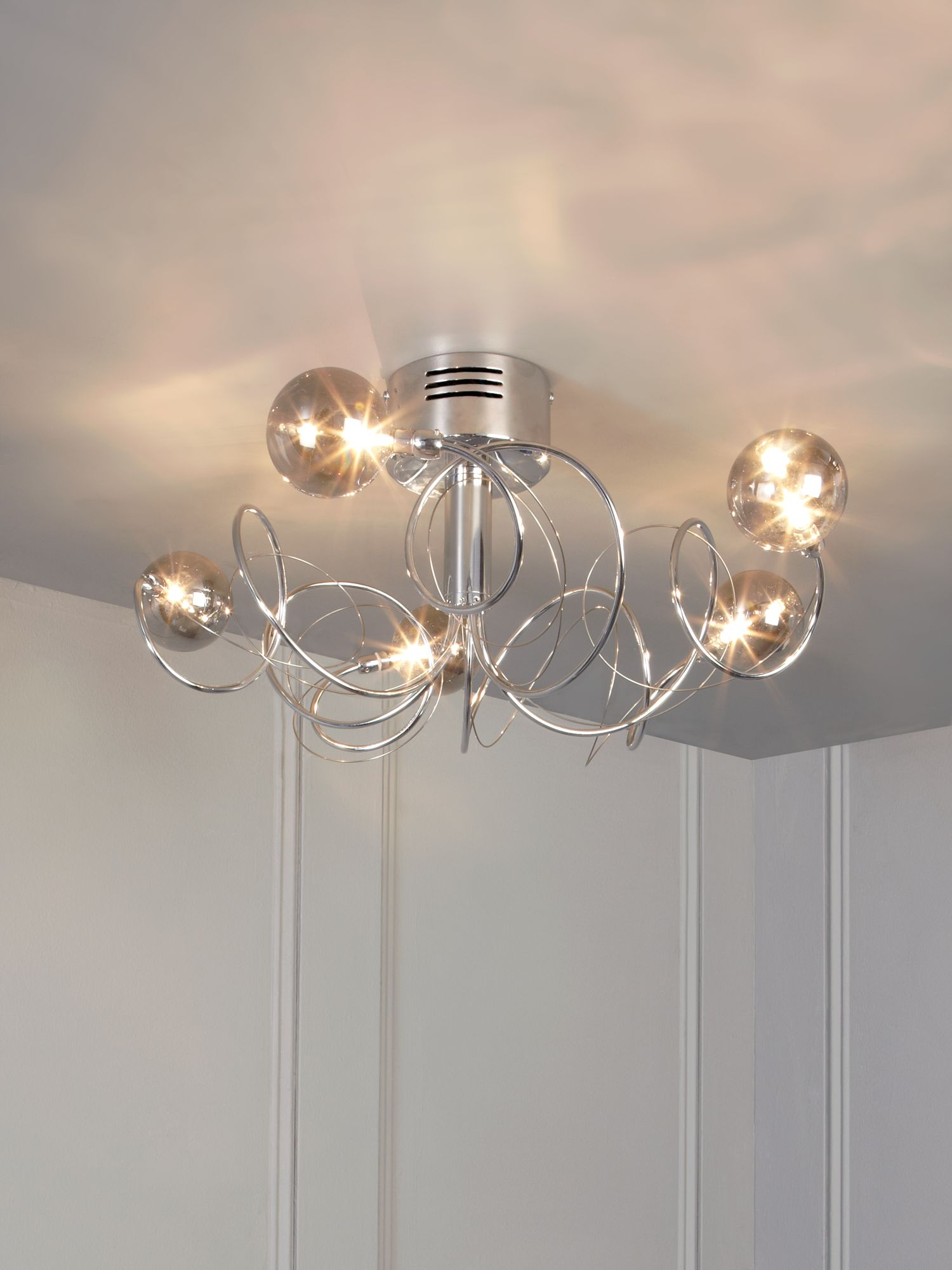 Cos chrome 5 light smoked ball ceiling light
