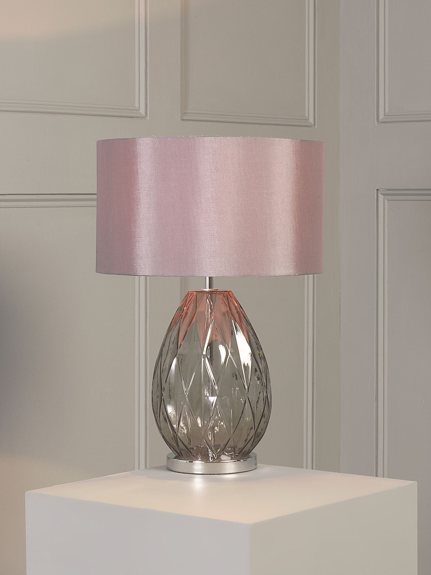 Geometric smoked glass base table lamp