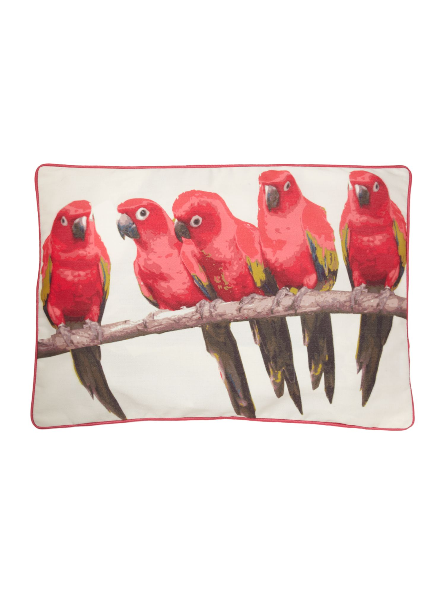 Pink parrot print cushion with piping