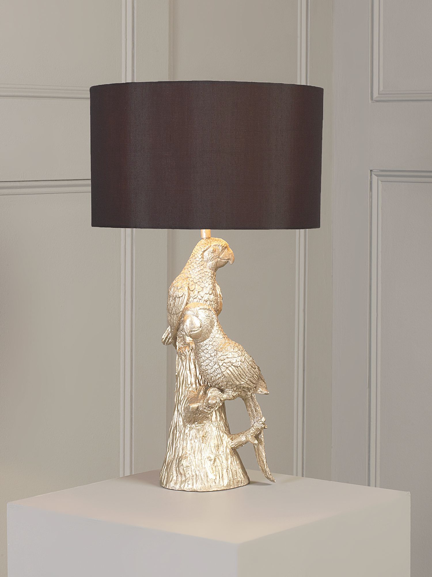 Paradise parrot table lamp in silver