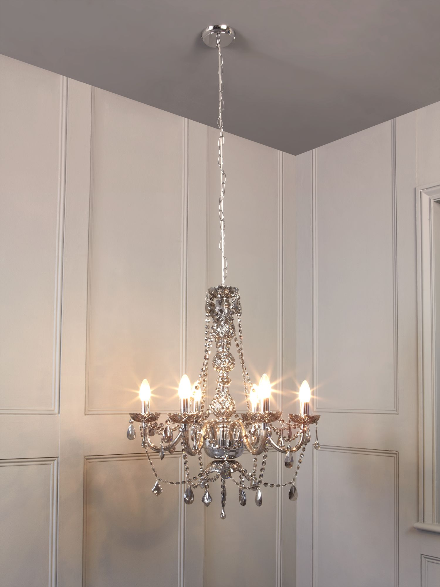 Roxie 6 arm crystal dropper chandelier