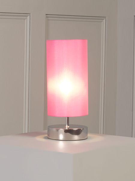 Linea Hanna polished chrome touch lamp hot pink shade