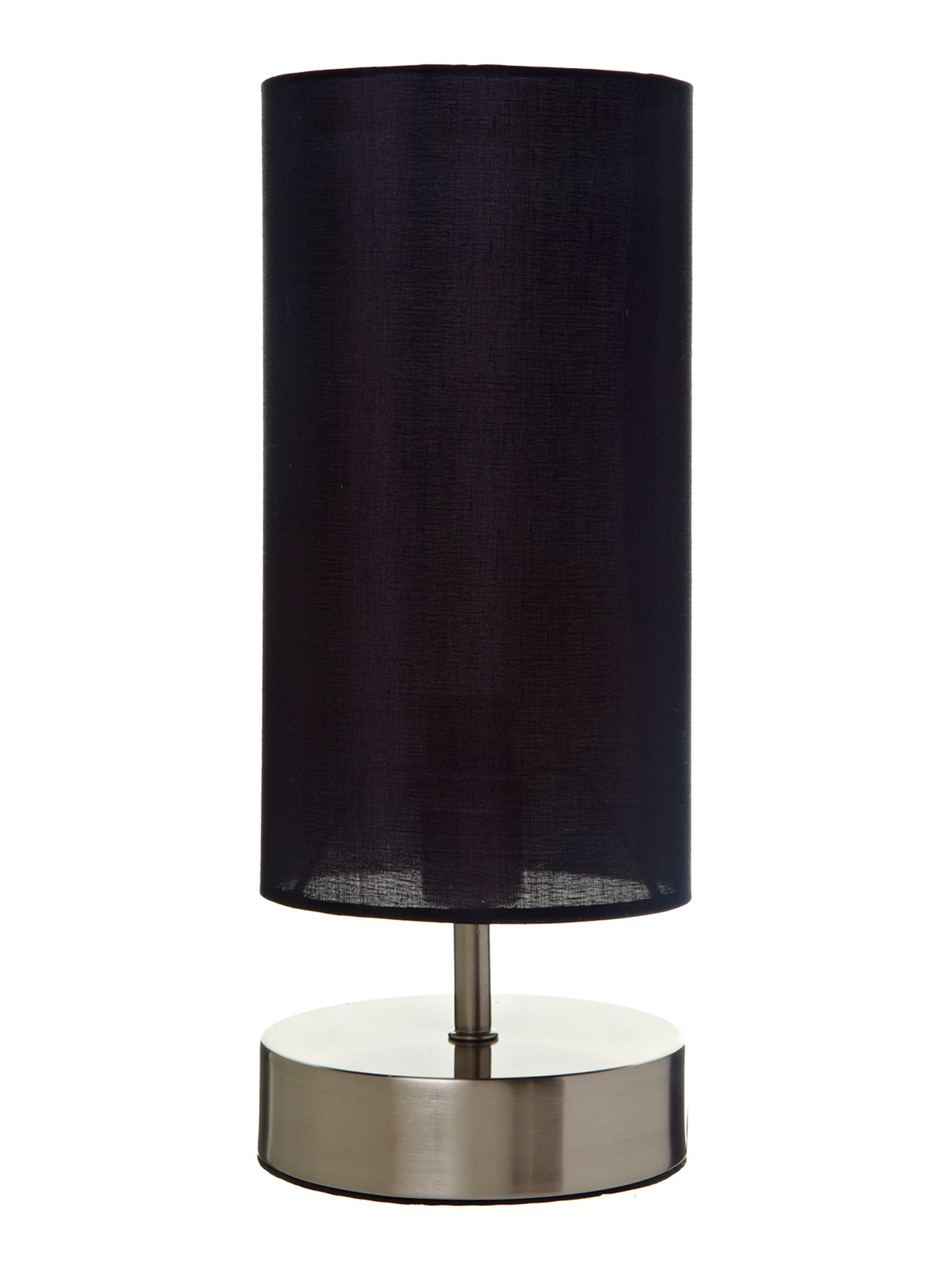 Hanna satin chrome touch lamp black shade