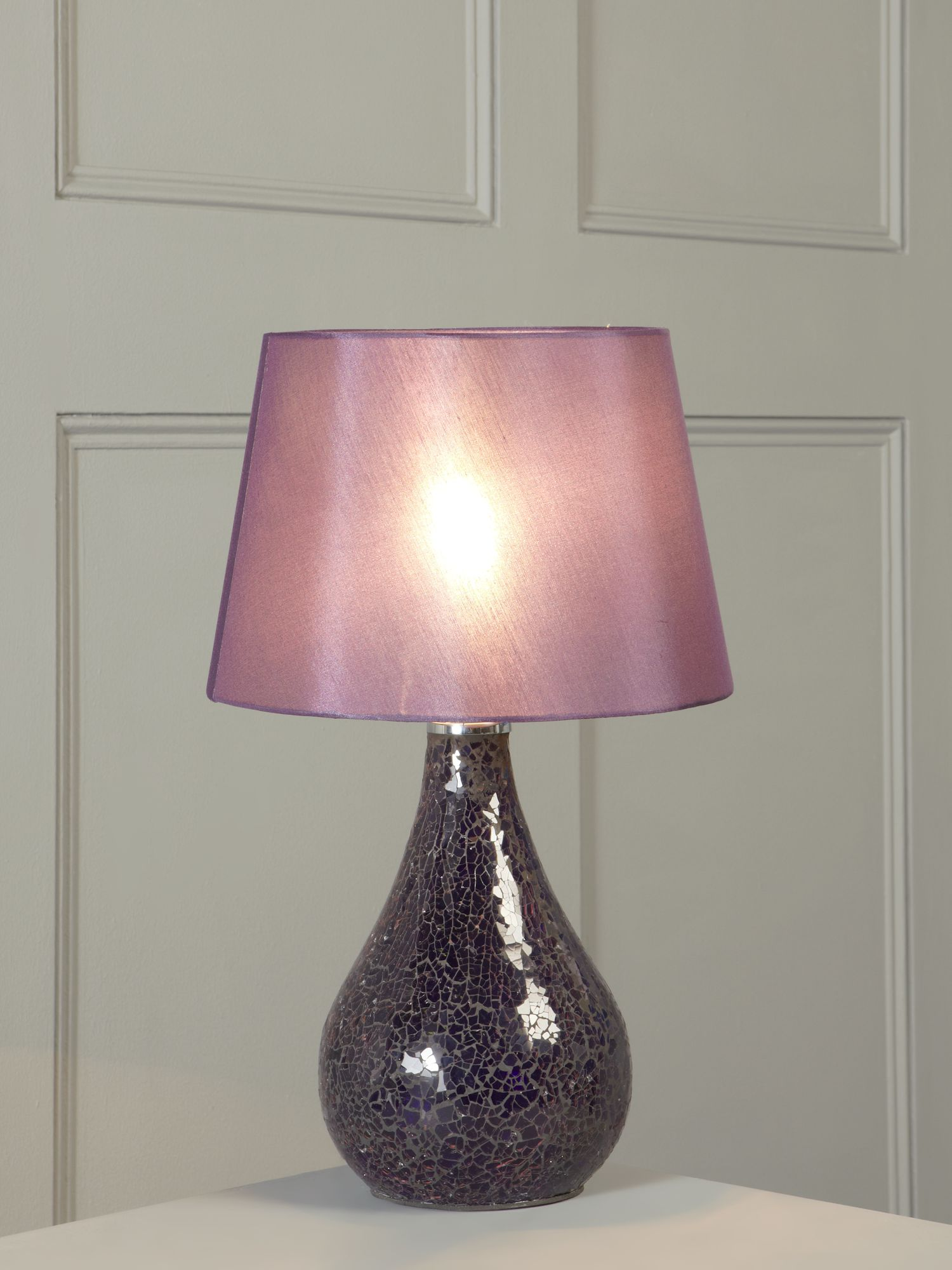 Zara plum mosaic glass table lamp