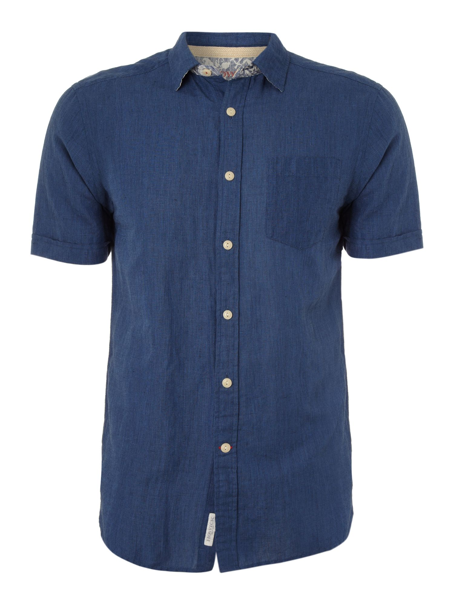 Short sleeved button down linen shirt