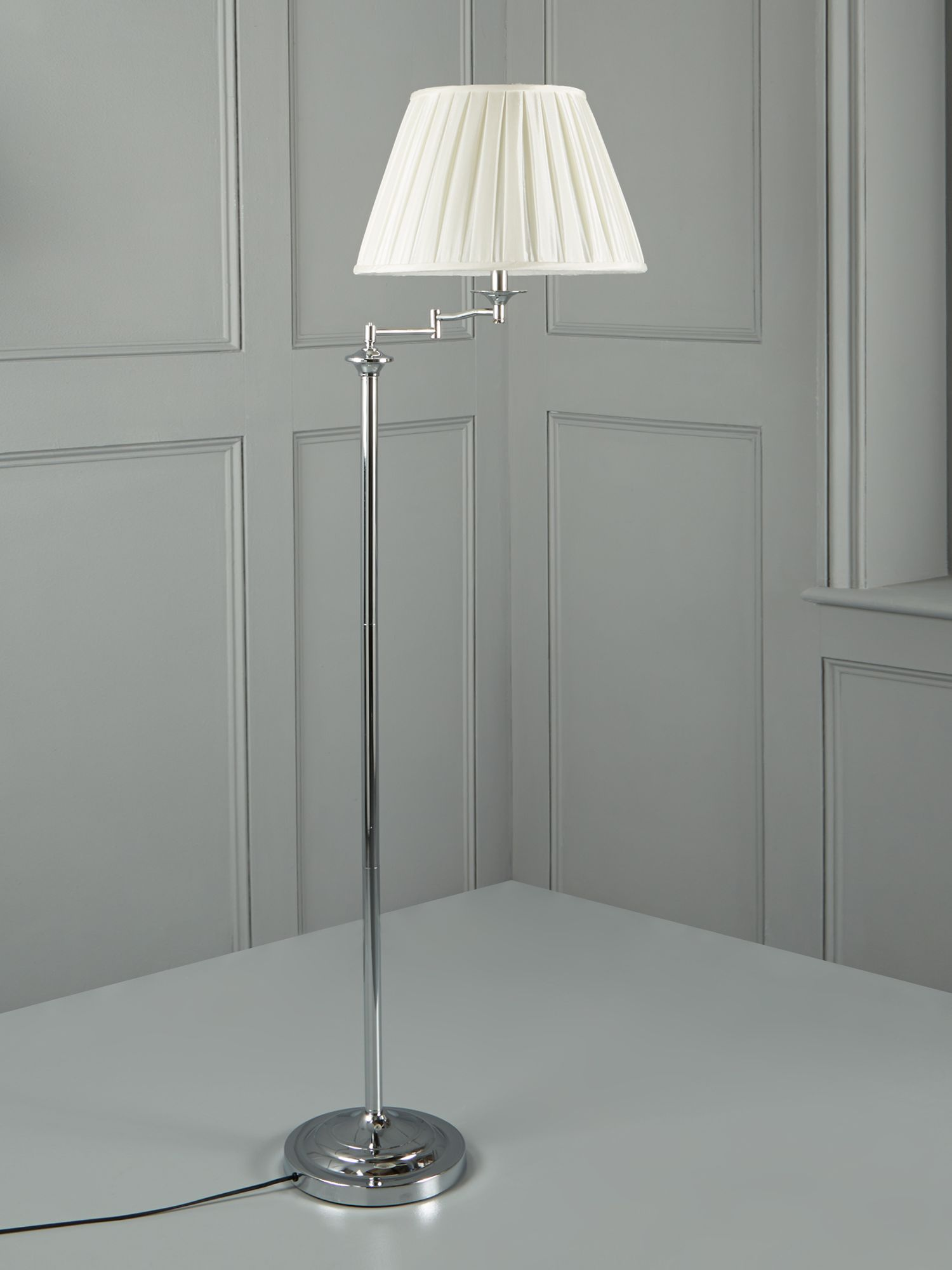 Eton polished chrome swing arm floor lamp