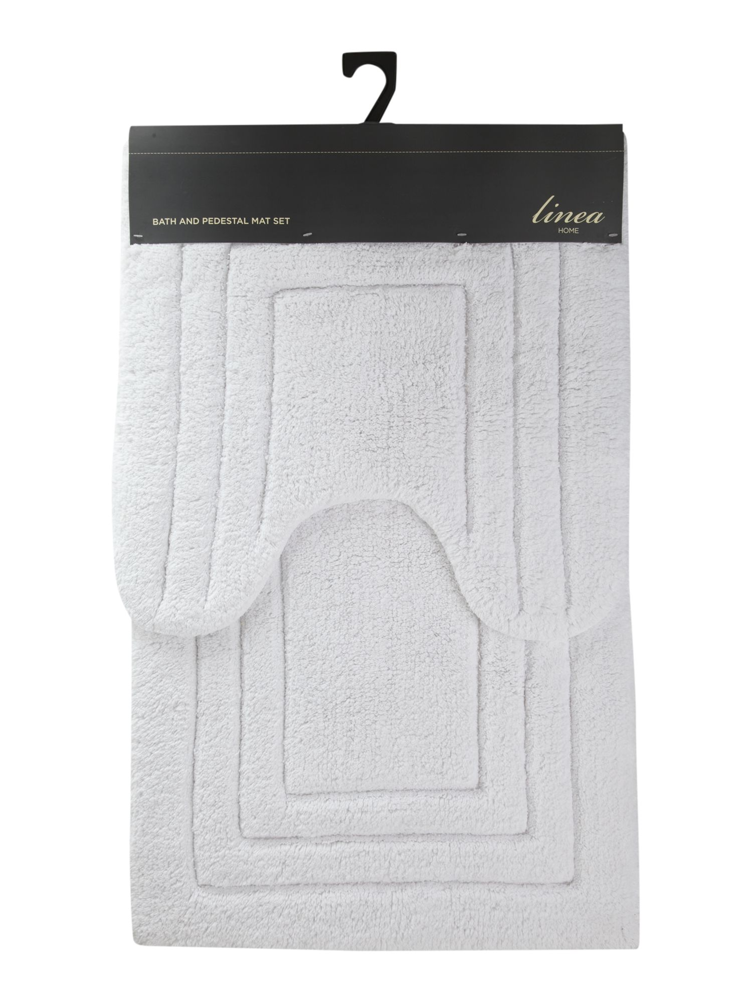 Bath mat and pedestal mat set in white