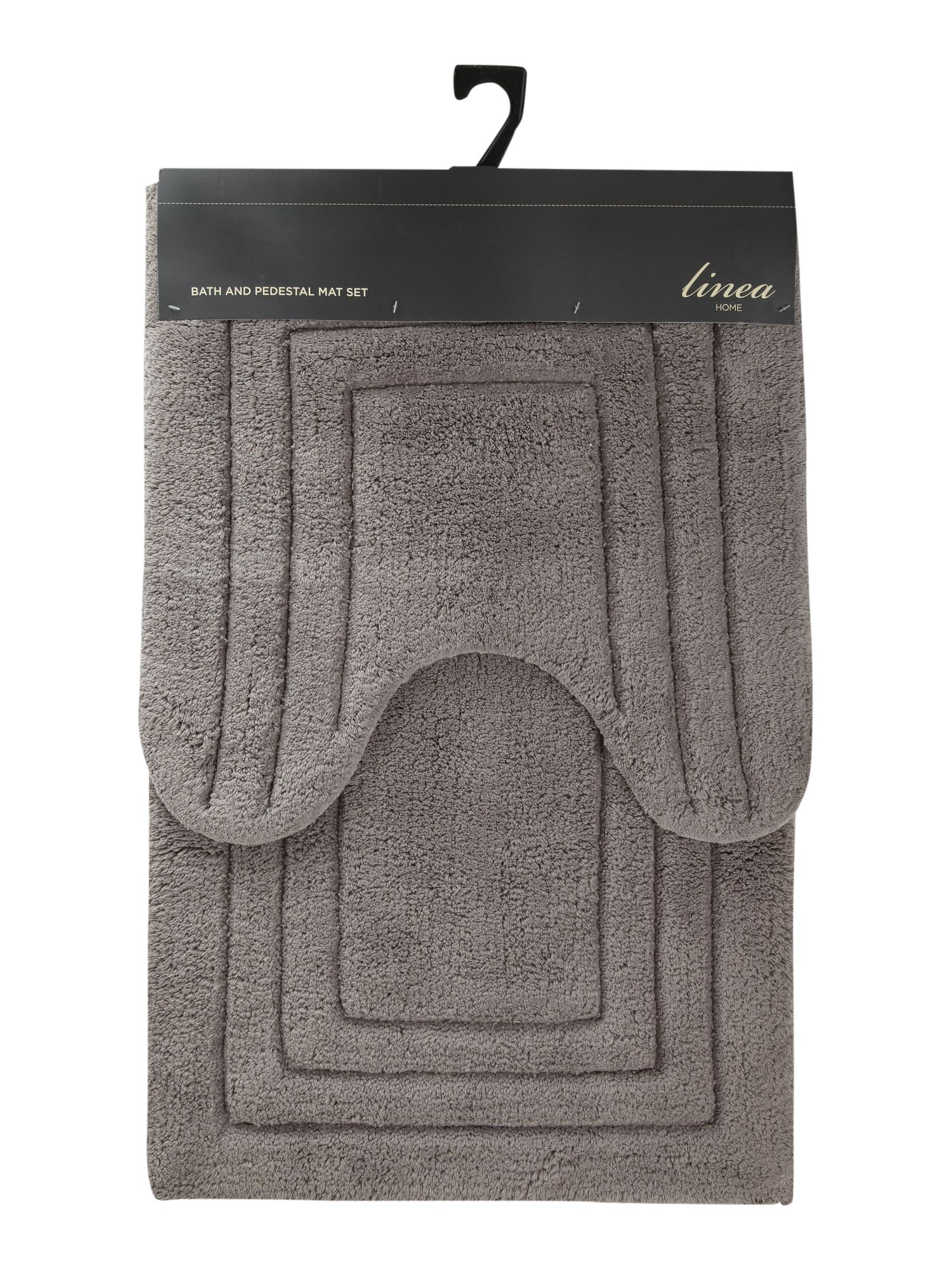 Bath mat and pedestal mat set in cool grey