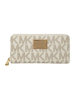 Jet set plaque ziparound purse