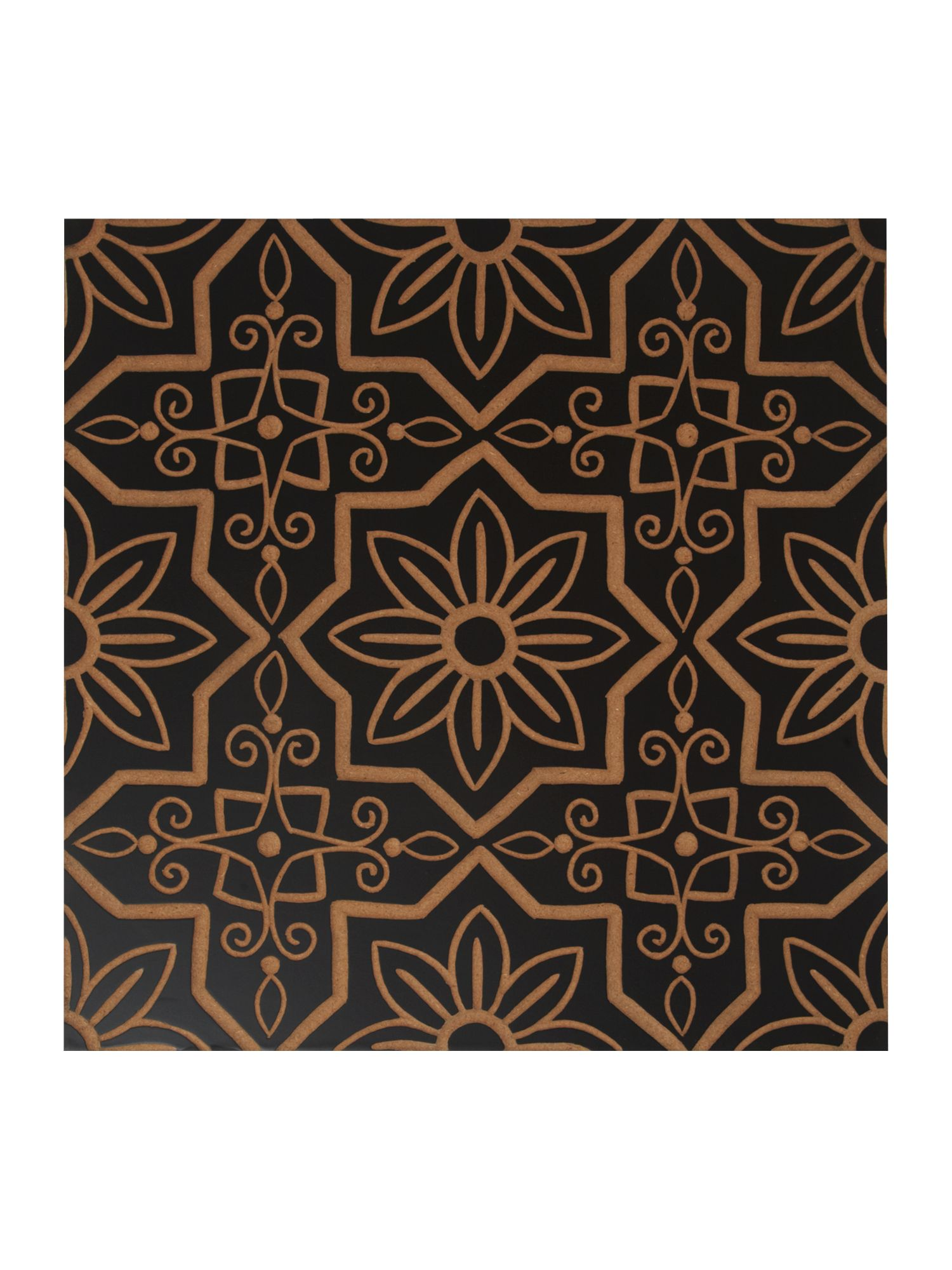Carved wooden wall art tile