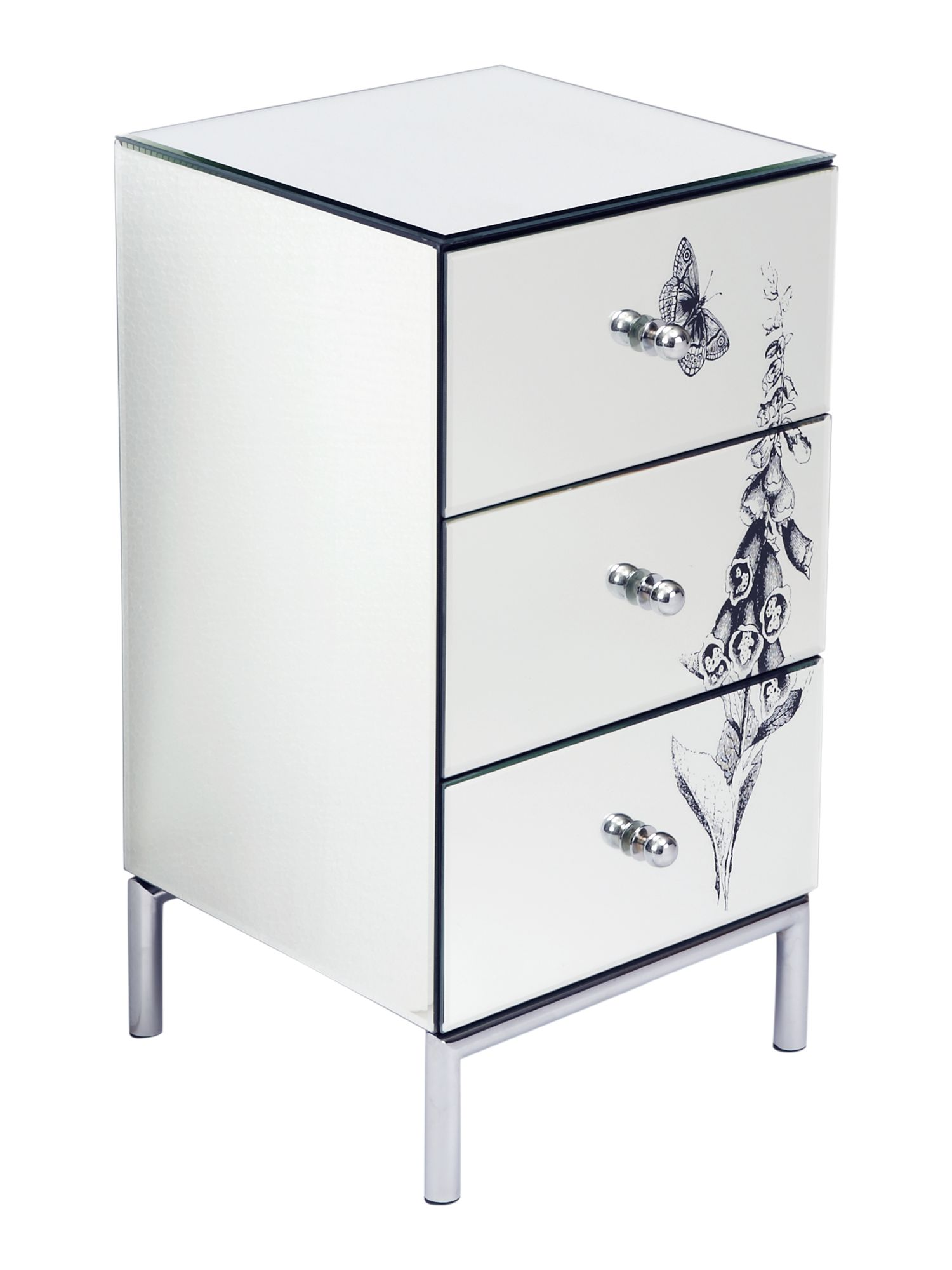 Foxglove 3 drawer mirrored bedside chest