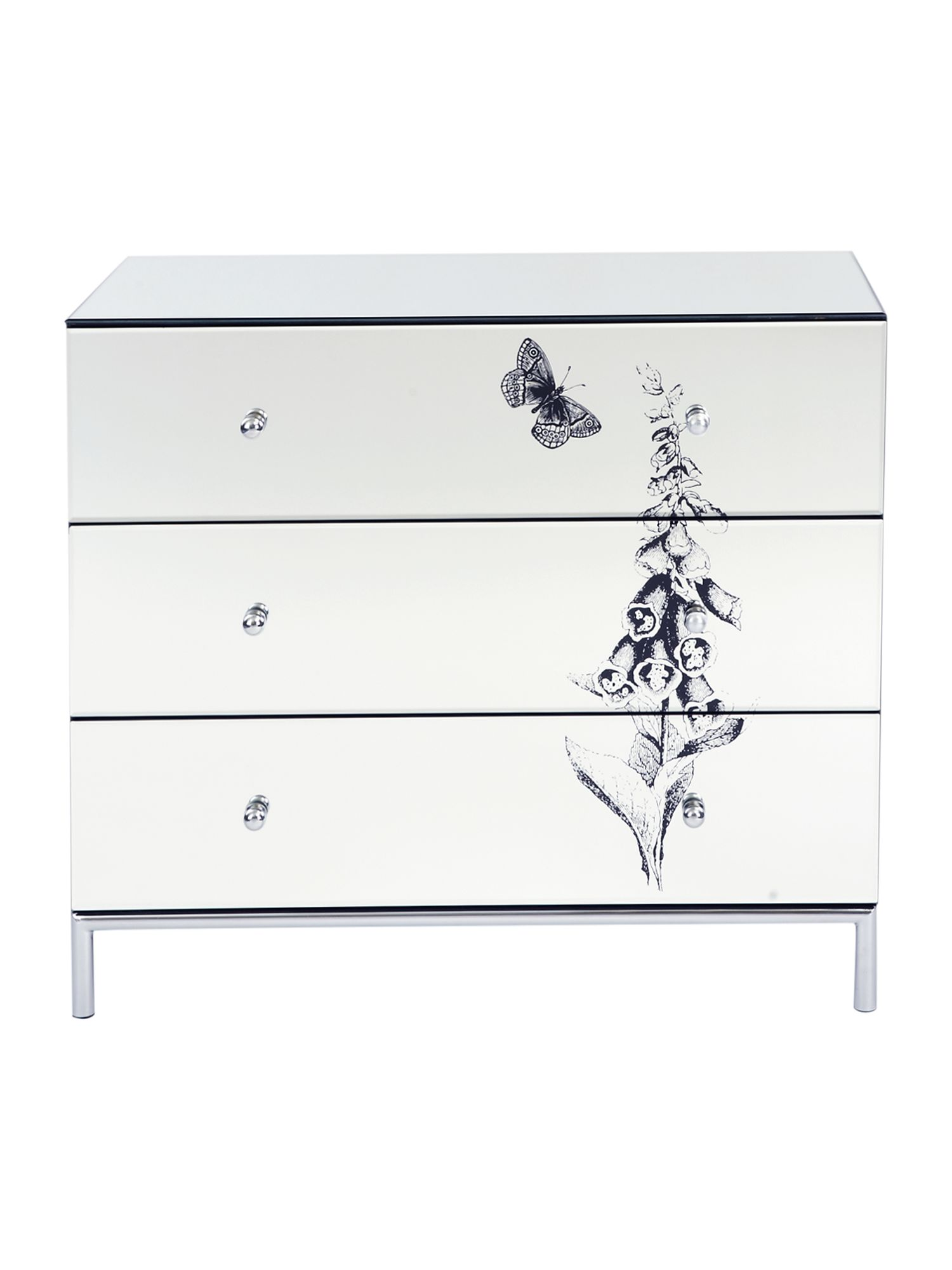Foxglove 3 mirrored drawer chest