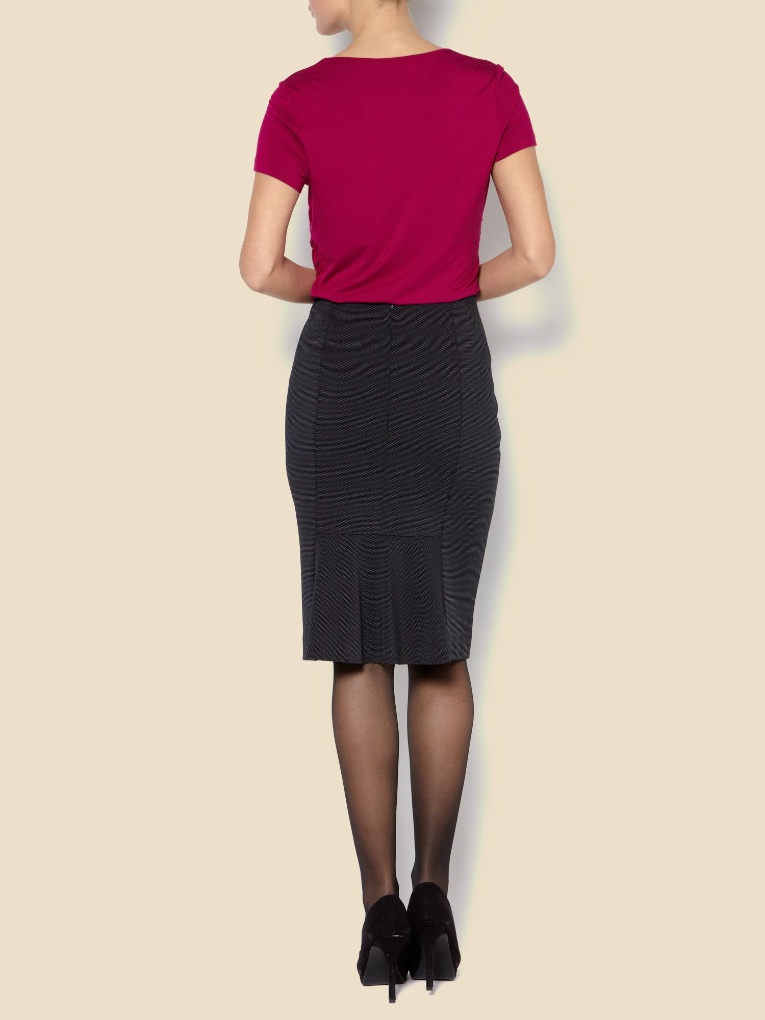 Pindot pencil skirt