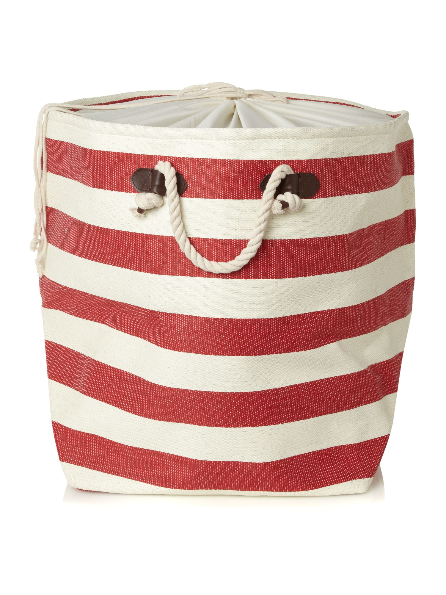 Nautical striped laundry bag in red