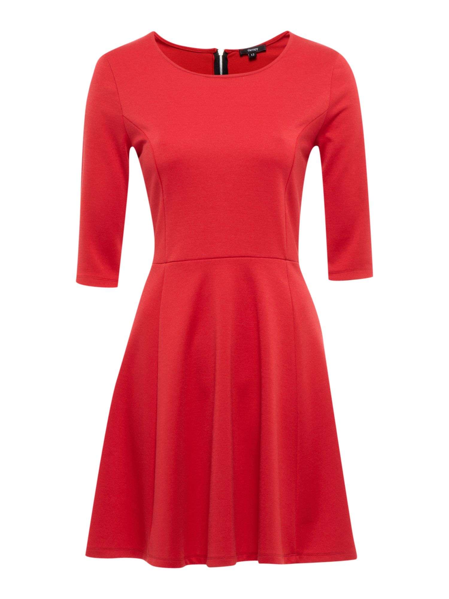 Classic plain skater dress with zip detail