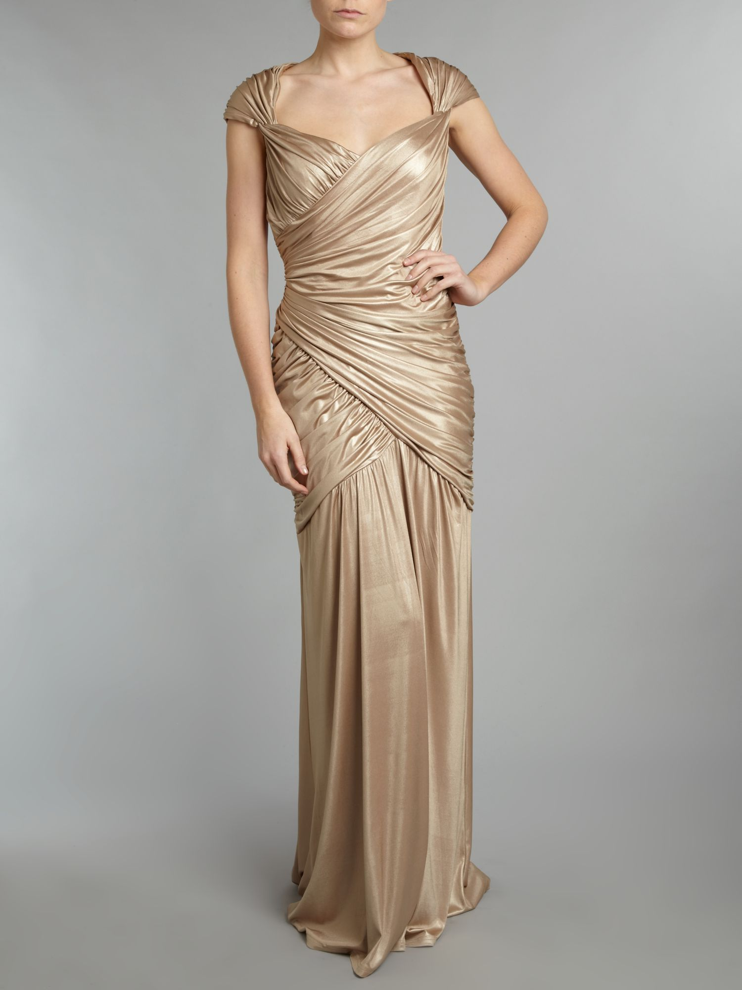 Metallic rouched wrap dress