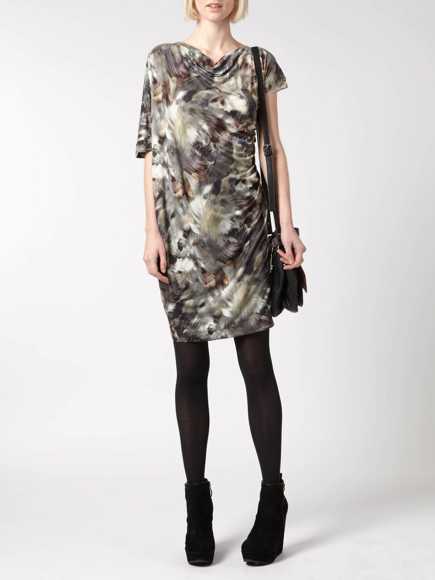 Jersey asymmetric digital print dress