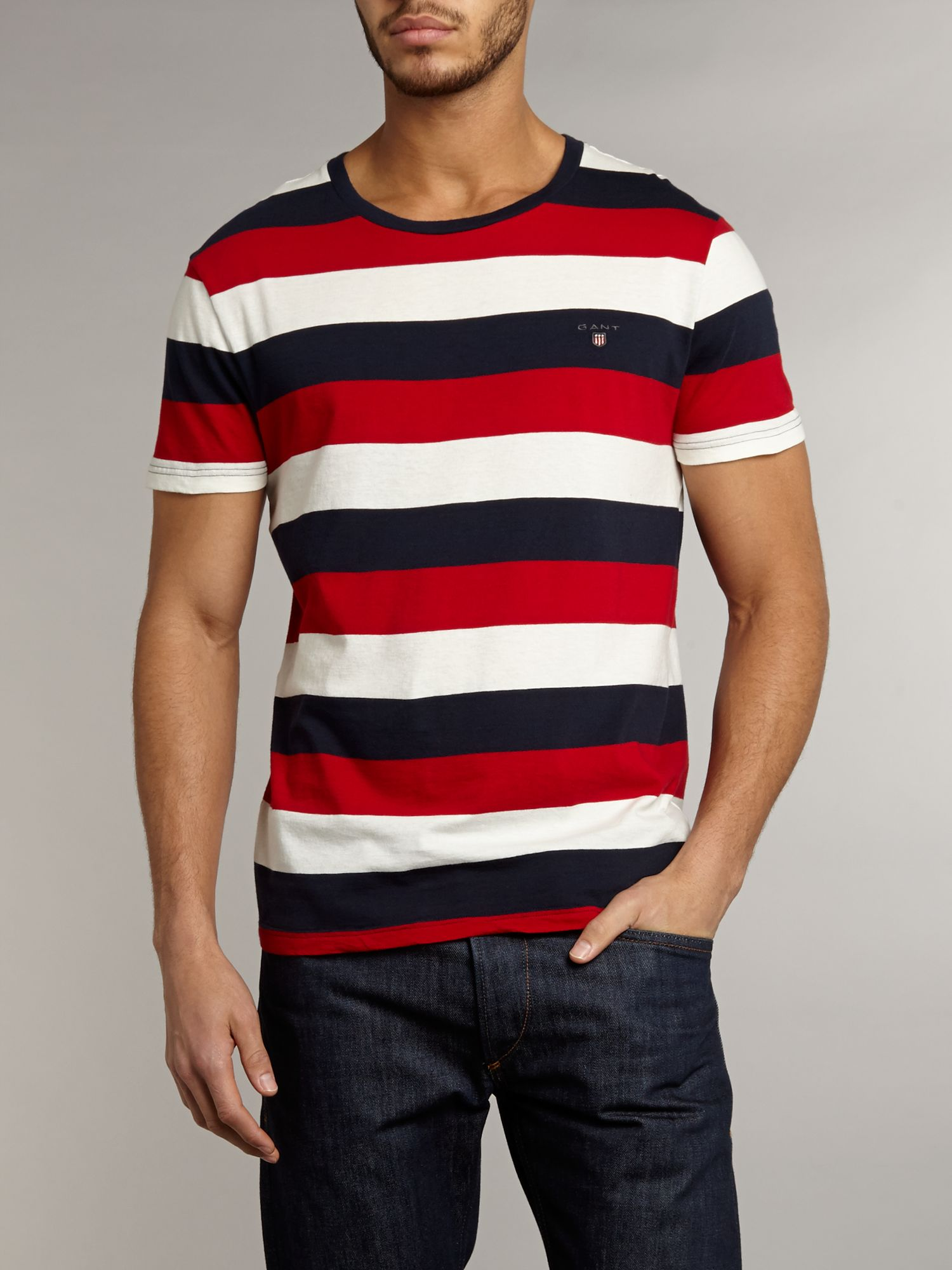 Short sleeve block stripe crew t-shirt