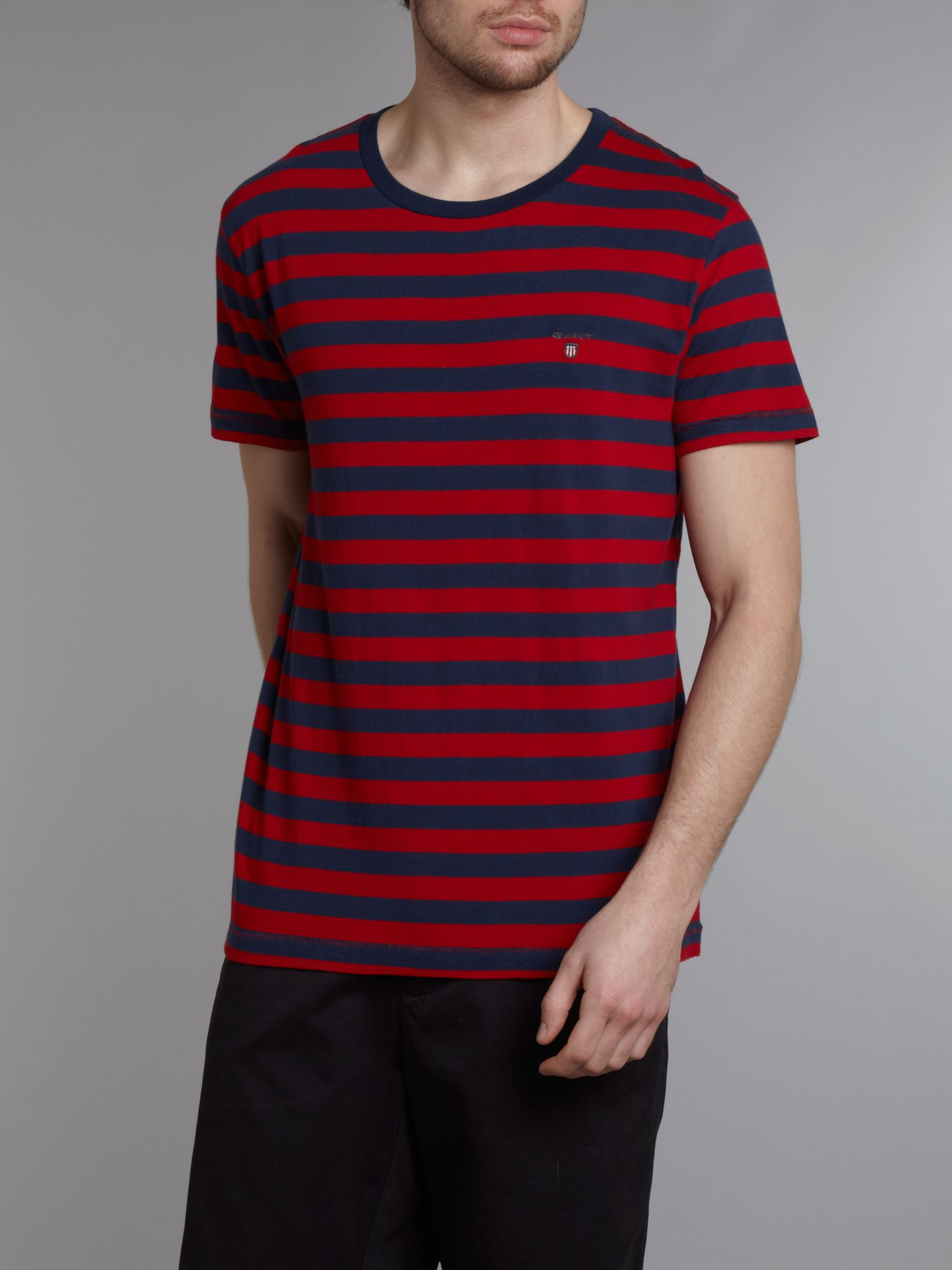 Short sleeve bar stripe crew t-shirt
