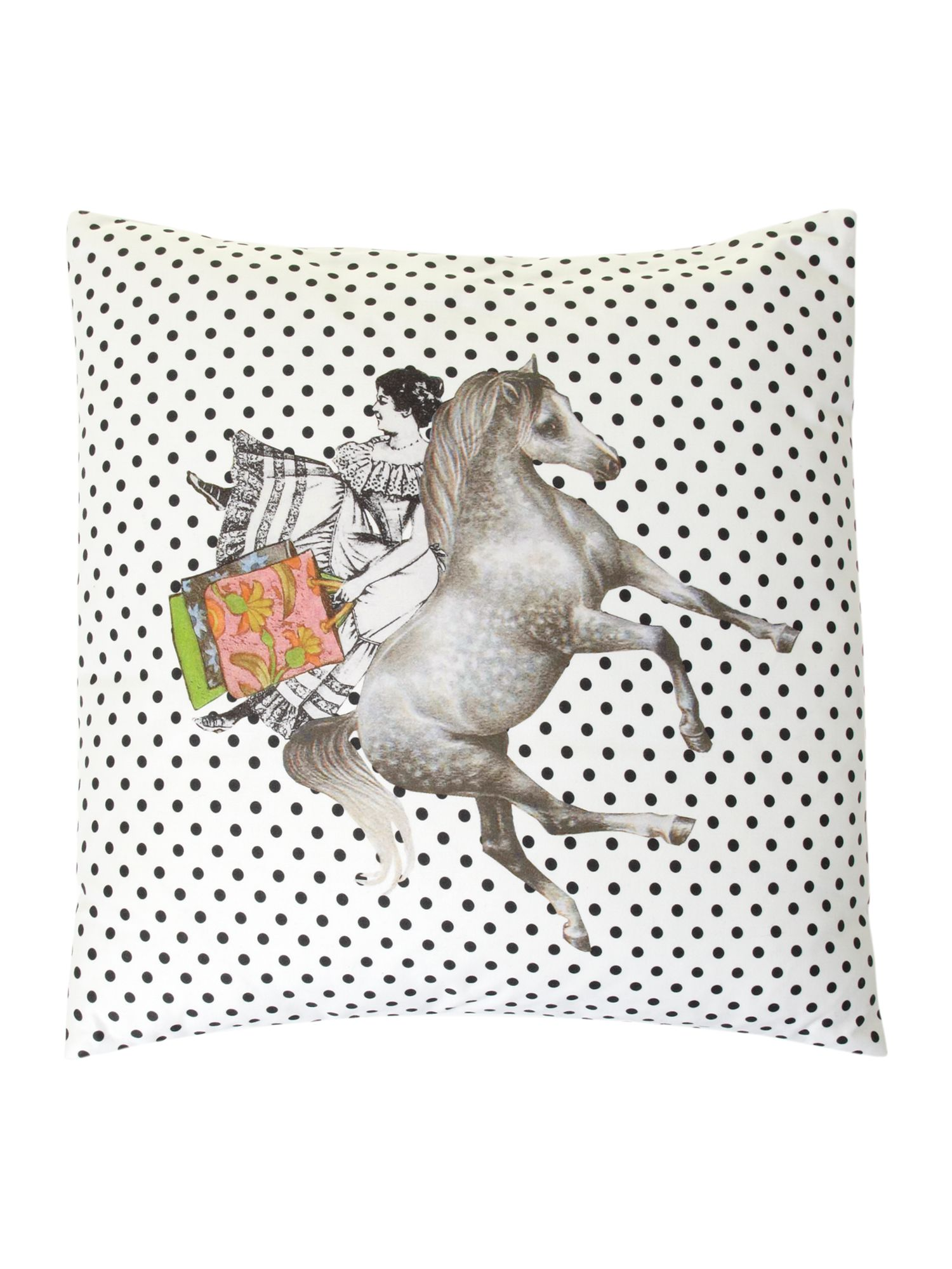 Lady on horse cushion