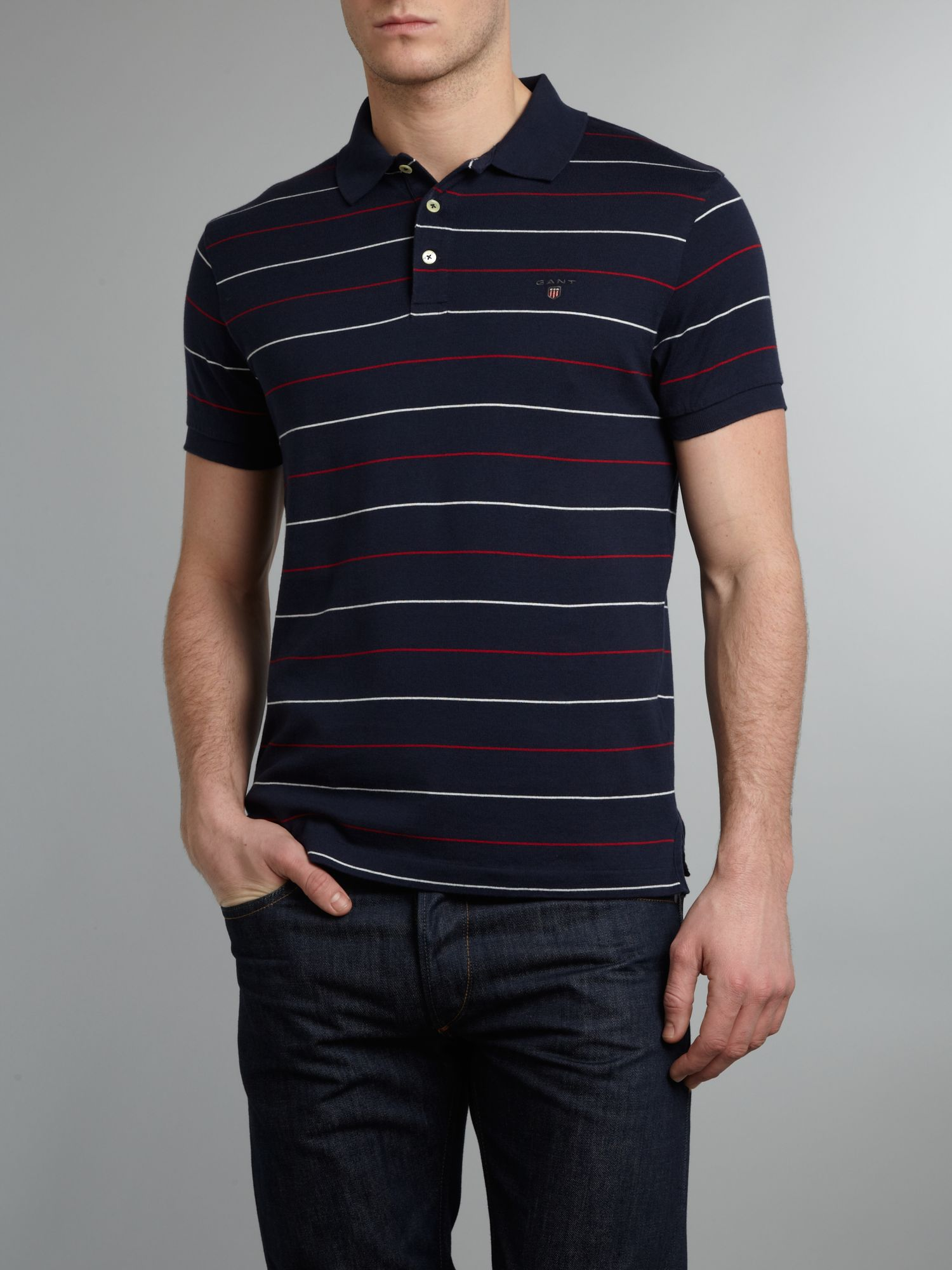 Multi coloured stripe polo shirt