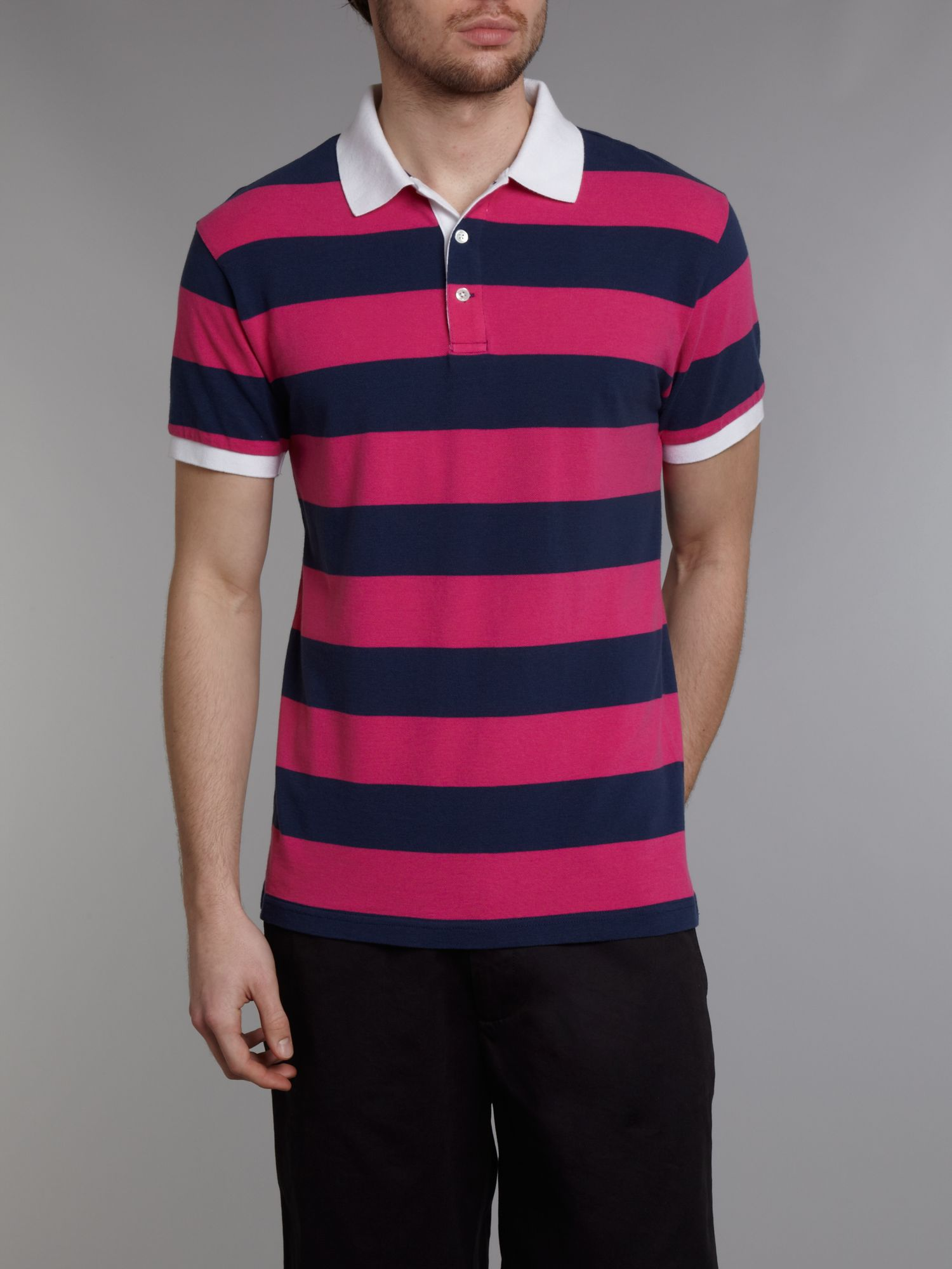 Bar stripe pique polo shirt