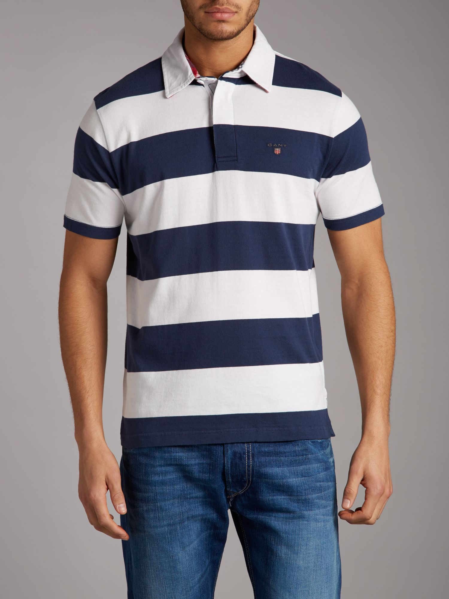 Bar stripe short sleeve rugby top