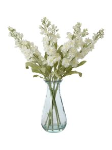 Delphinium bunch in recycled glass vase