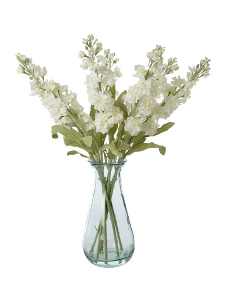 Shabby Chic Delphinium bunch in recycled glass vase