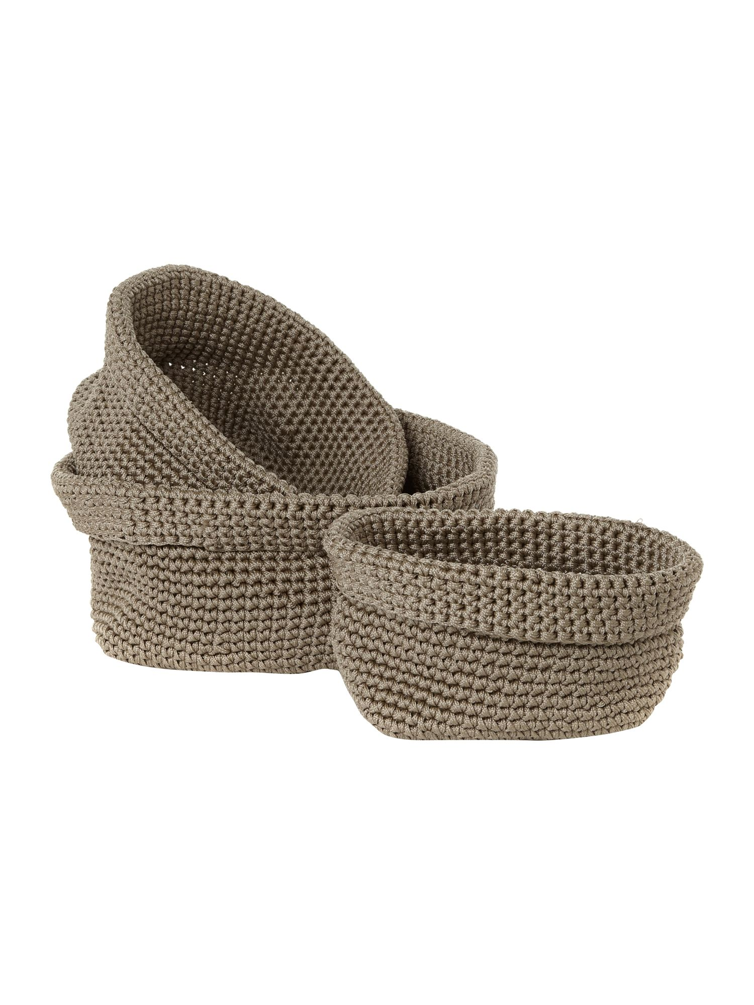 Set of 3 rope crochet baskets