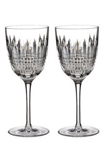 Waterford Lismore diamond white wine glasses, set of 2