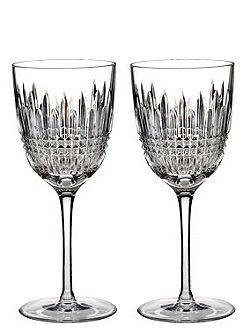 Lismore diamond white wine glasses, set of 2