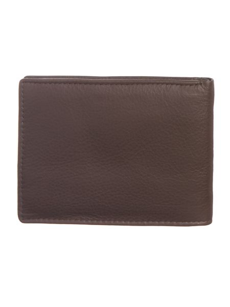Boxed tumbled leather bifold wallet w/coin pocket
