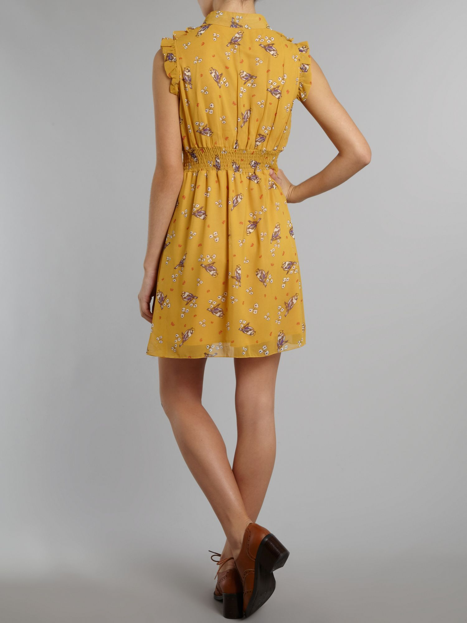 Bird print ruffle dress