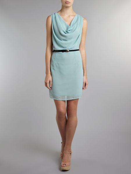 Atelier 61 Belted cowl neck dress
