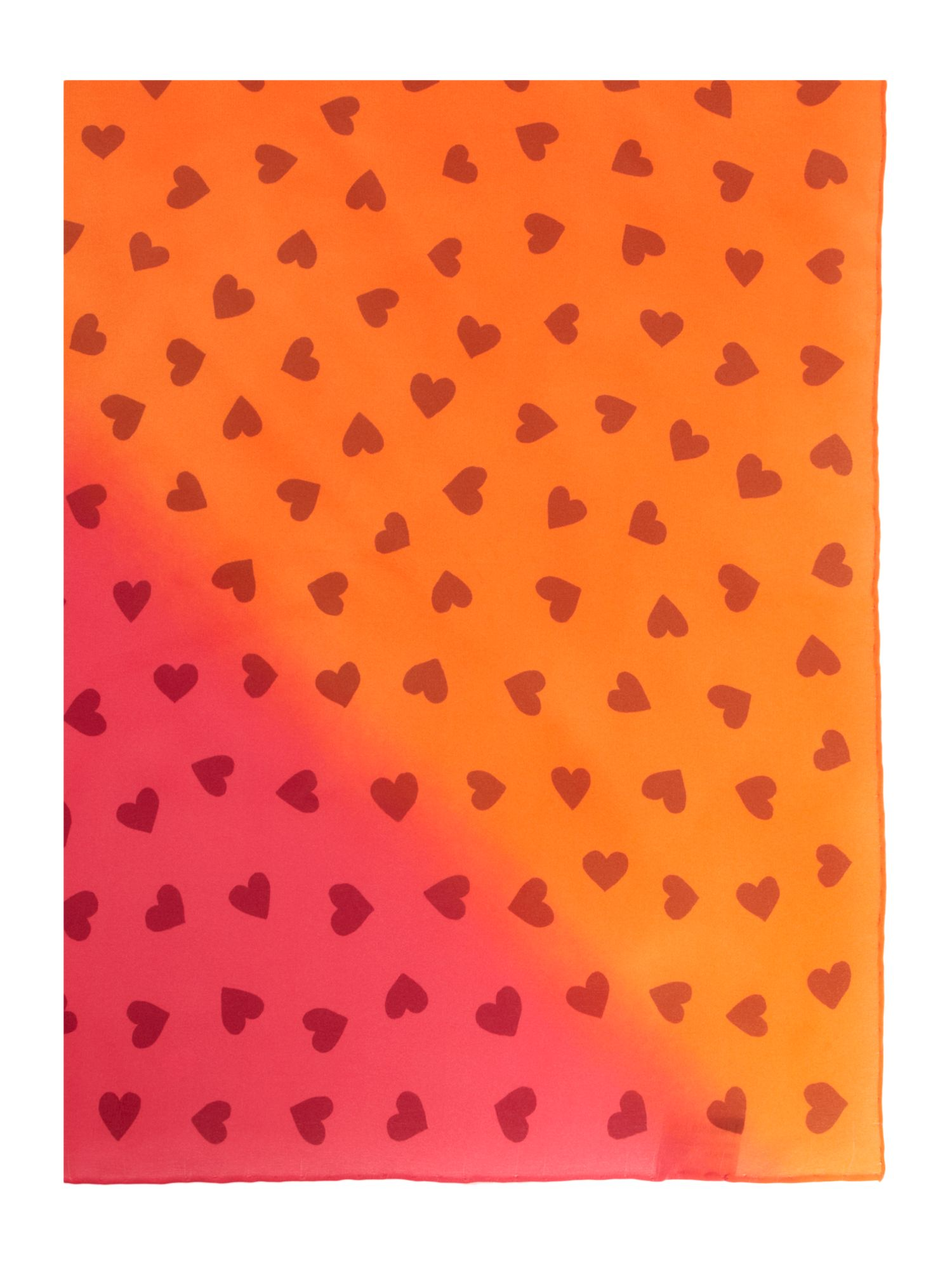 Heart print silk square scarf