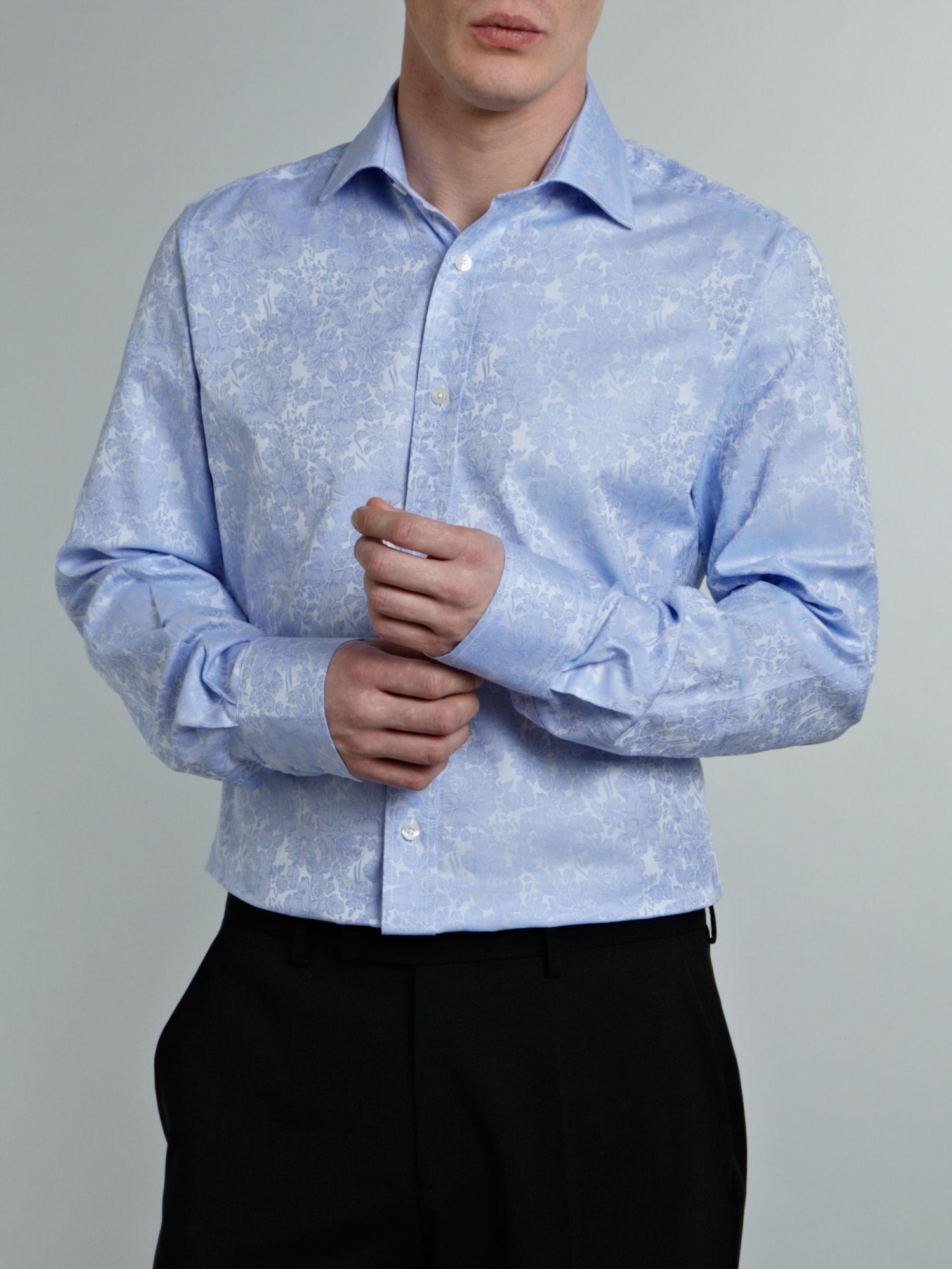 Long sleeve rose jacquard shirt