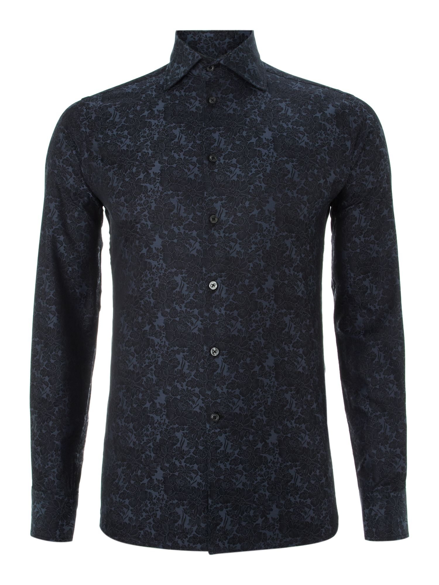 Long sleeve rose floral jacquard shirt