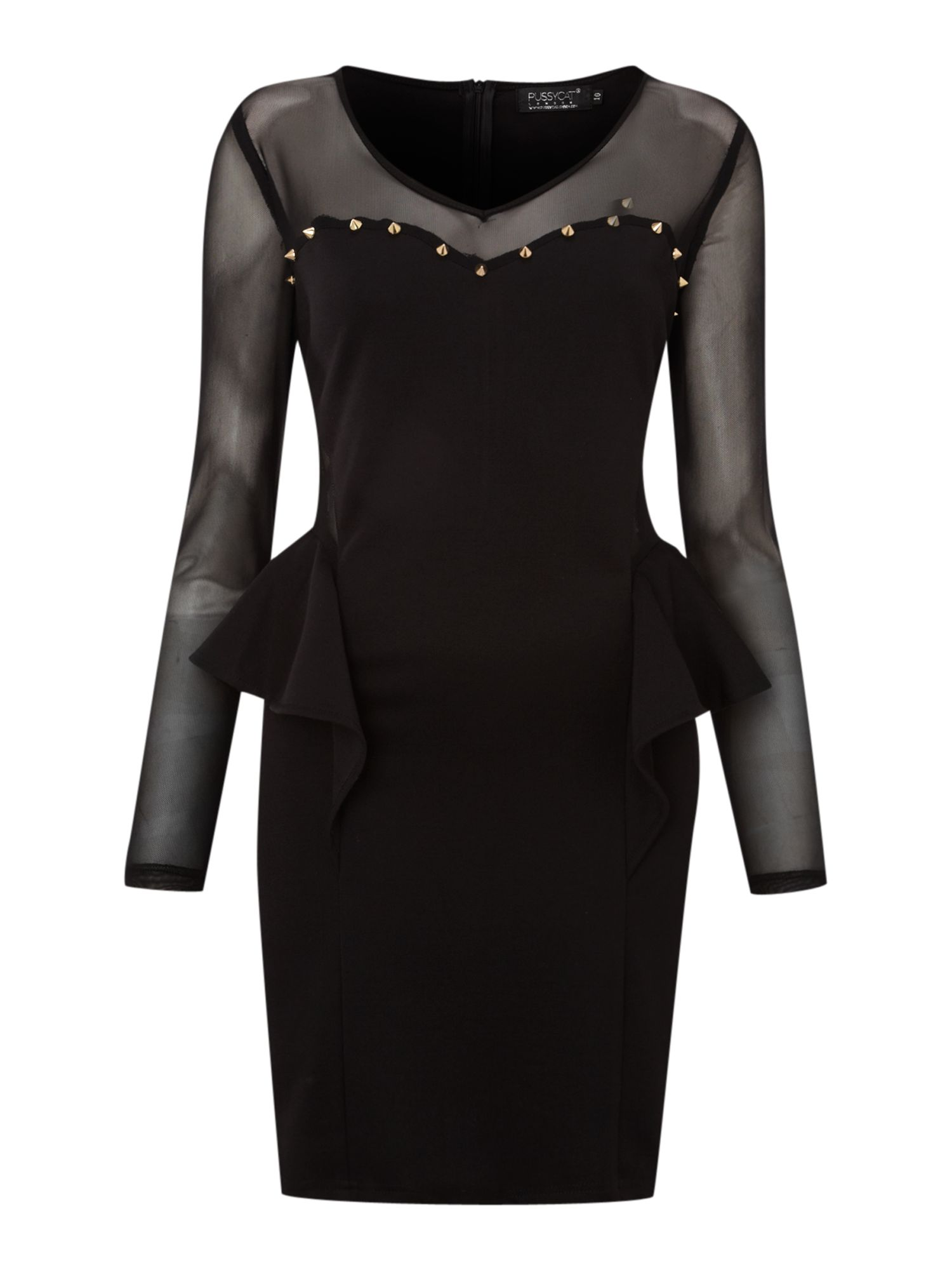 Stud Detail Cut-Out Peplum Dress