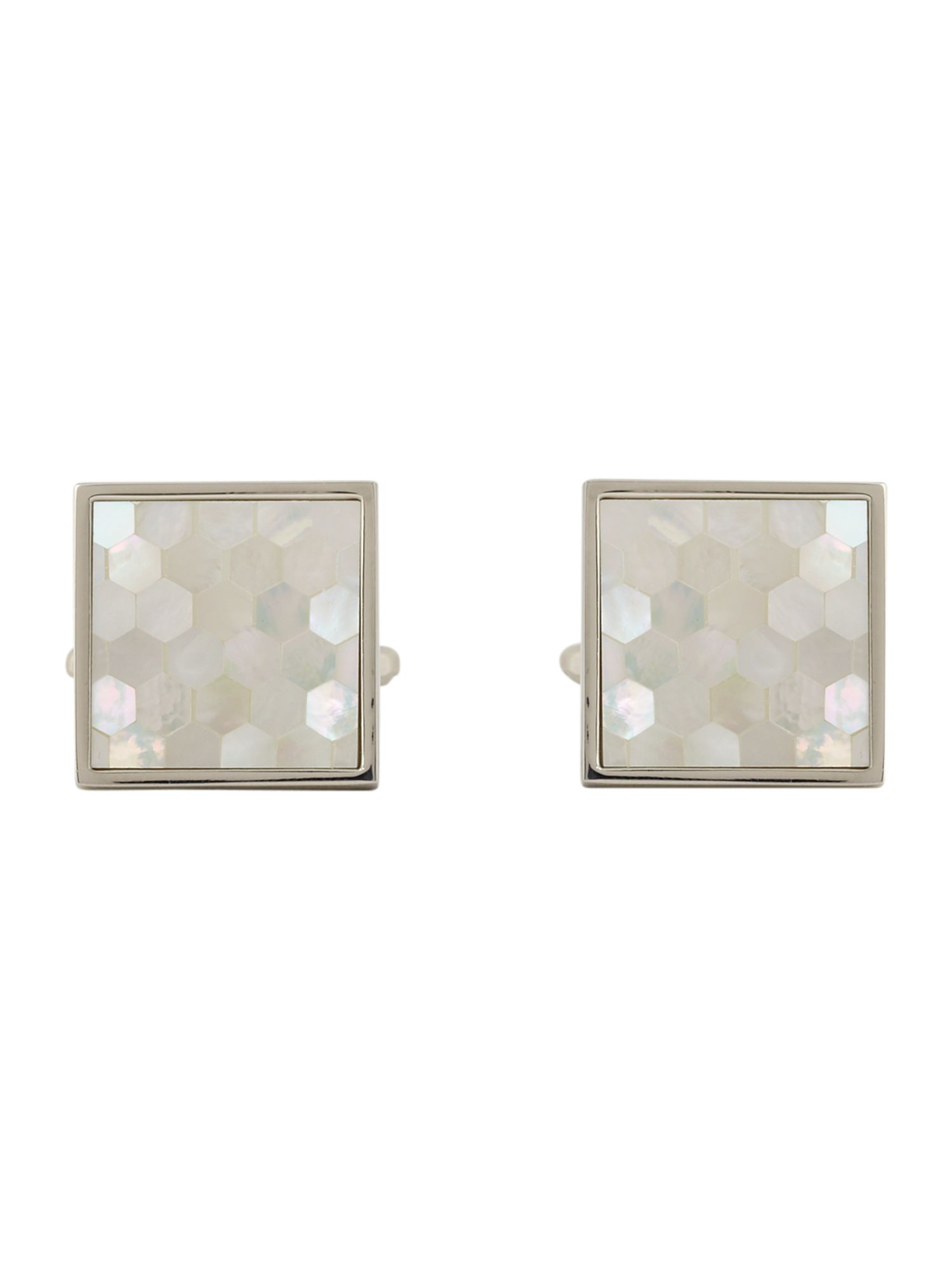 Square honeycomb mother of pearl cufflinks