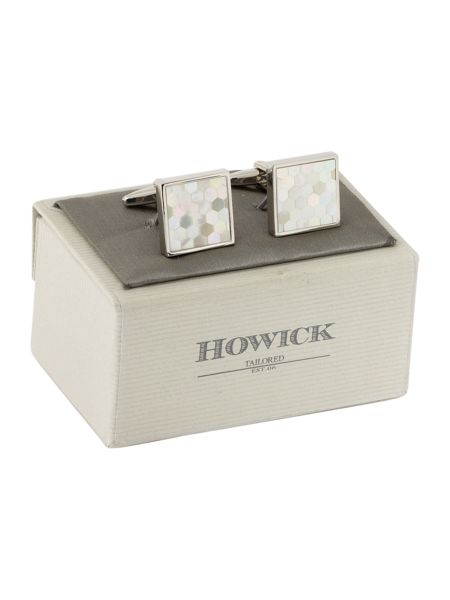 Howick Tailored Square honeycomb mother of pearl cufflinks