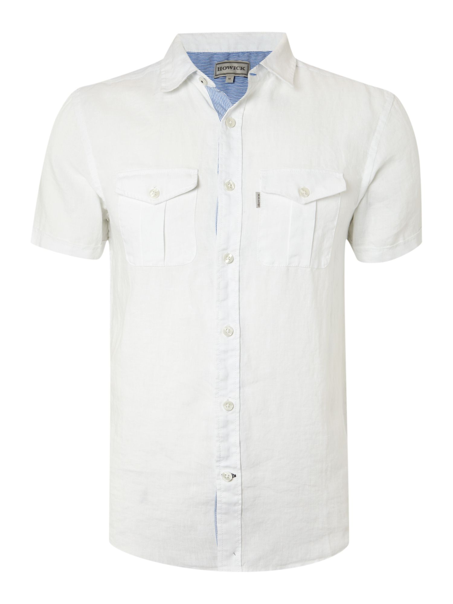 Short sleeved two pocket plain linen shirt