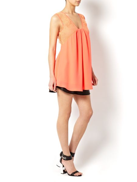 Finders Keepers Coral crochet drape top
