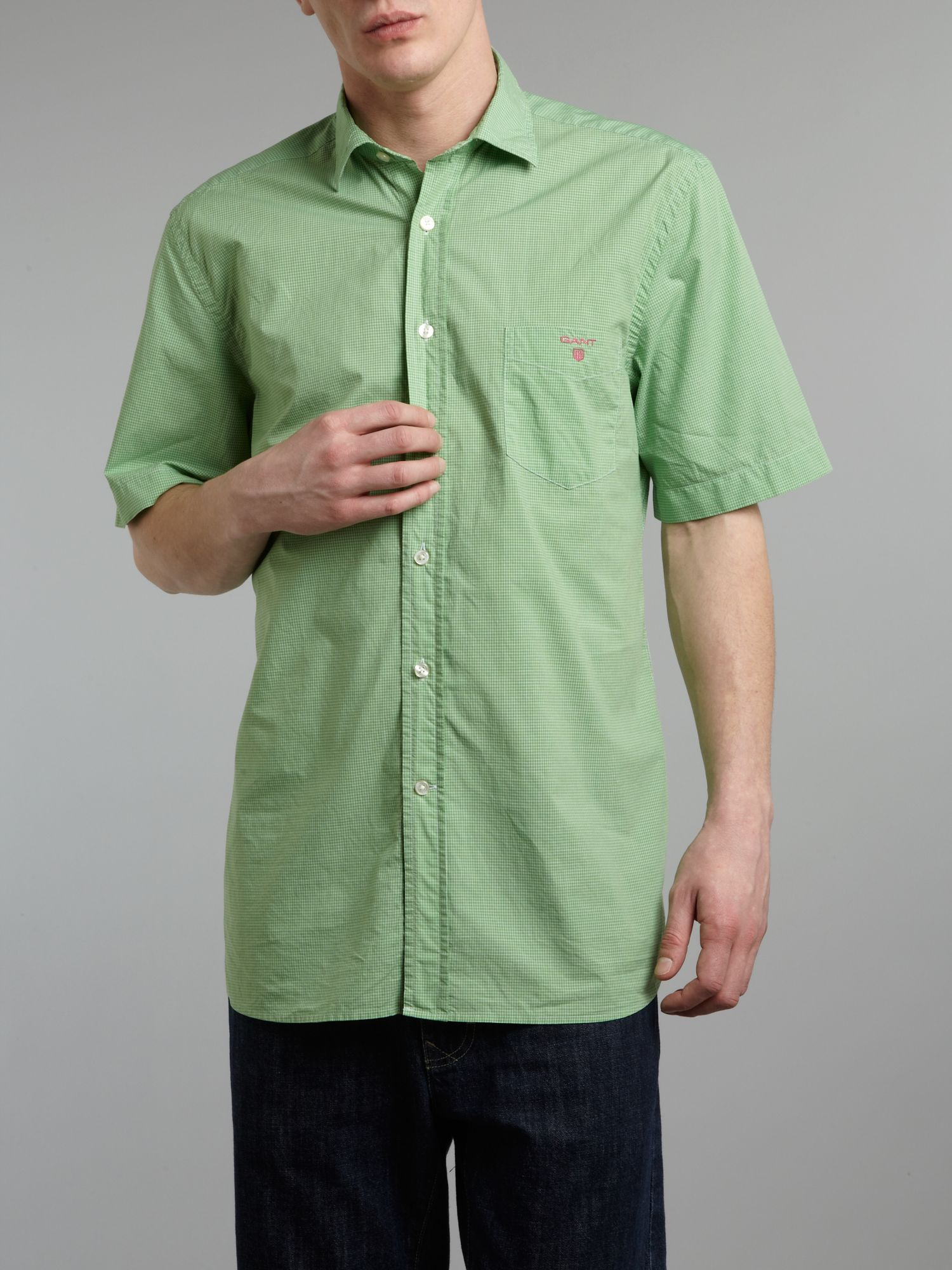 Short sleeve custom fit multi check shirt