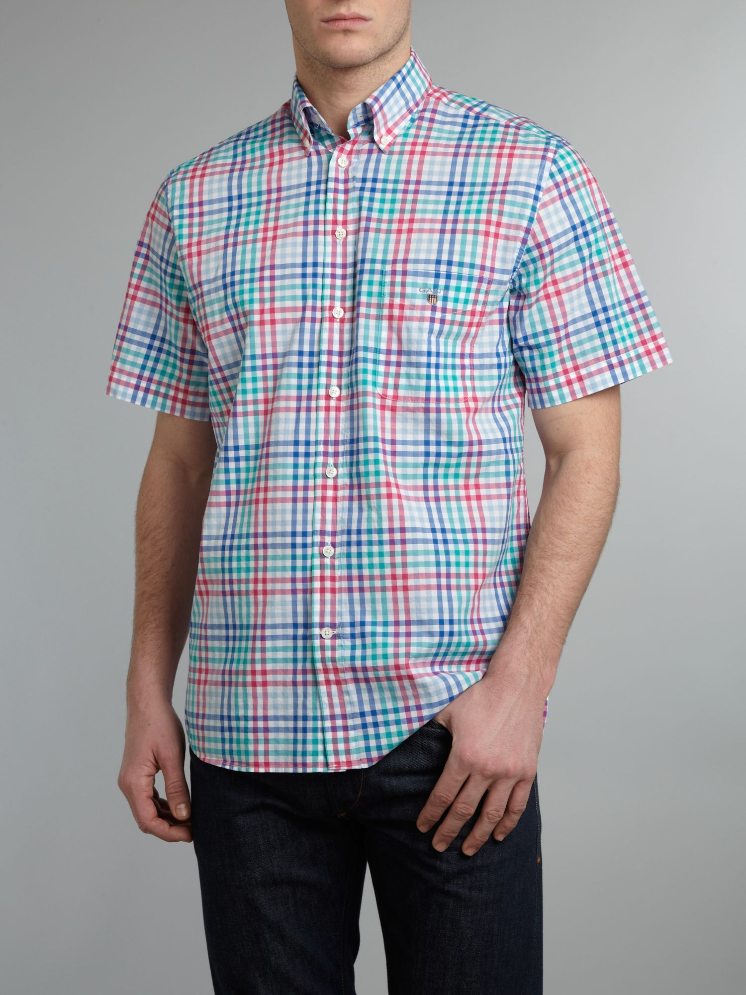 Short sleeve multi stripe shirt