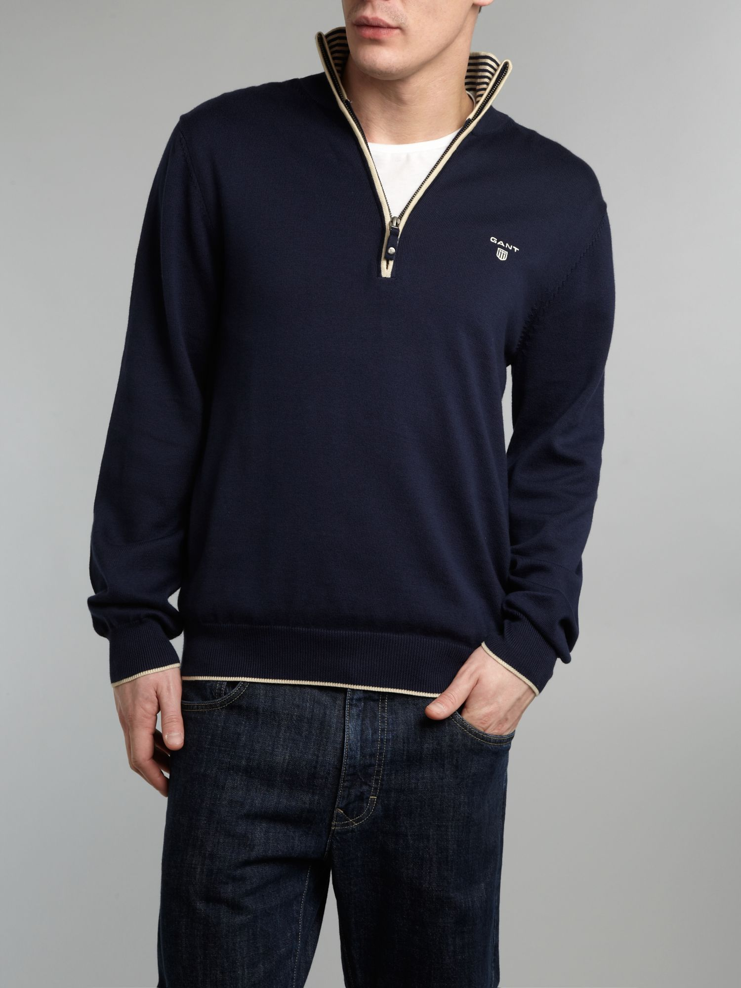 Pima cotton half zip jumper