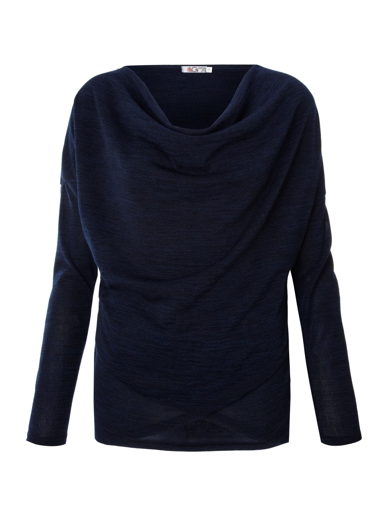 Cowl zip shoulder knit