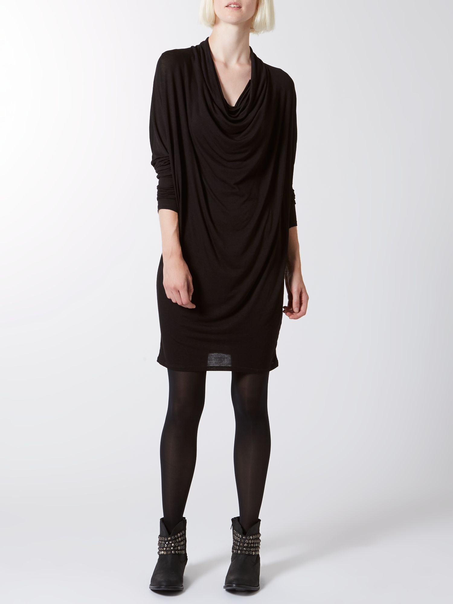 Jersey knit cowl long sleeve dress