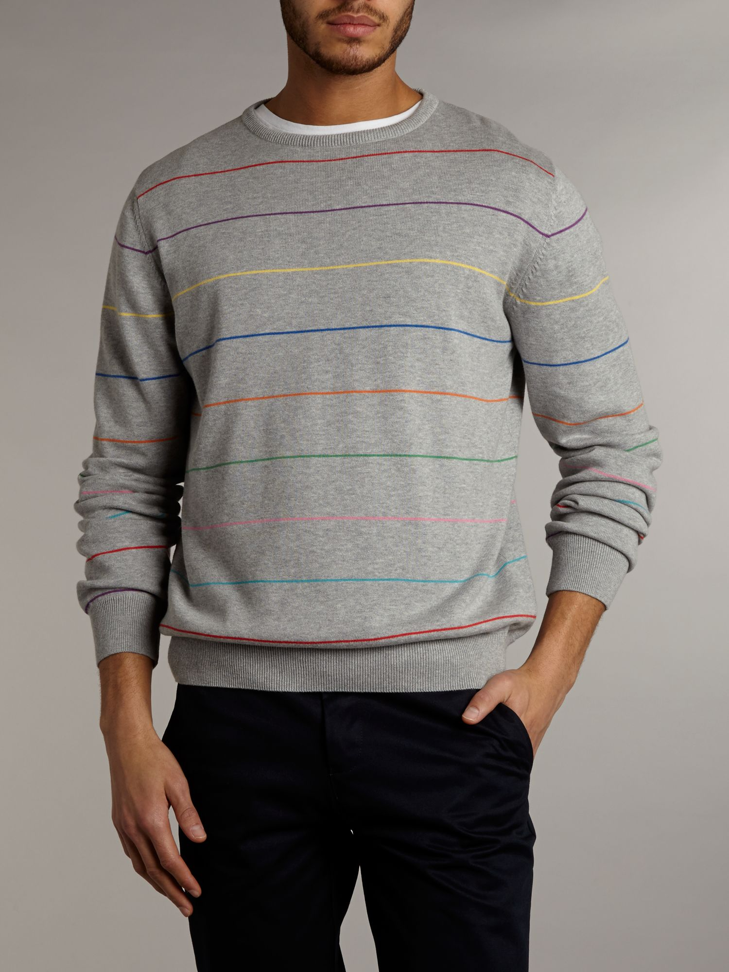 Multi stripe crew neck jumper