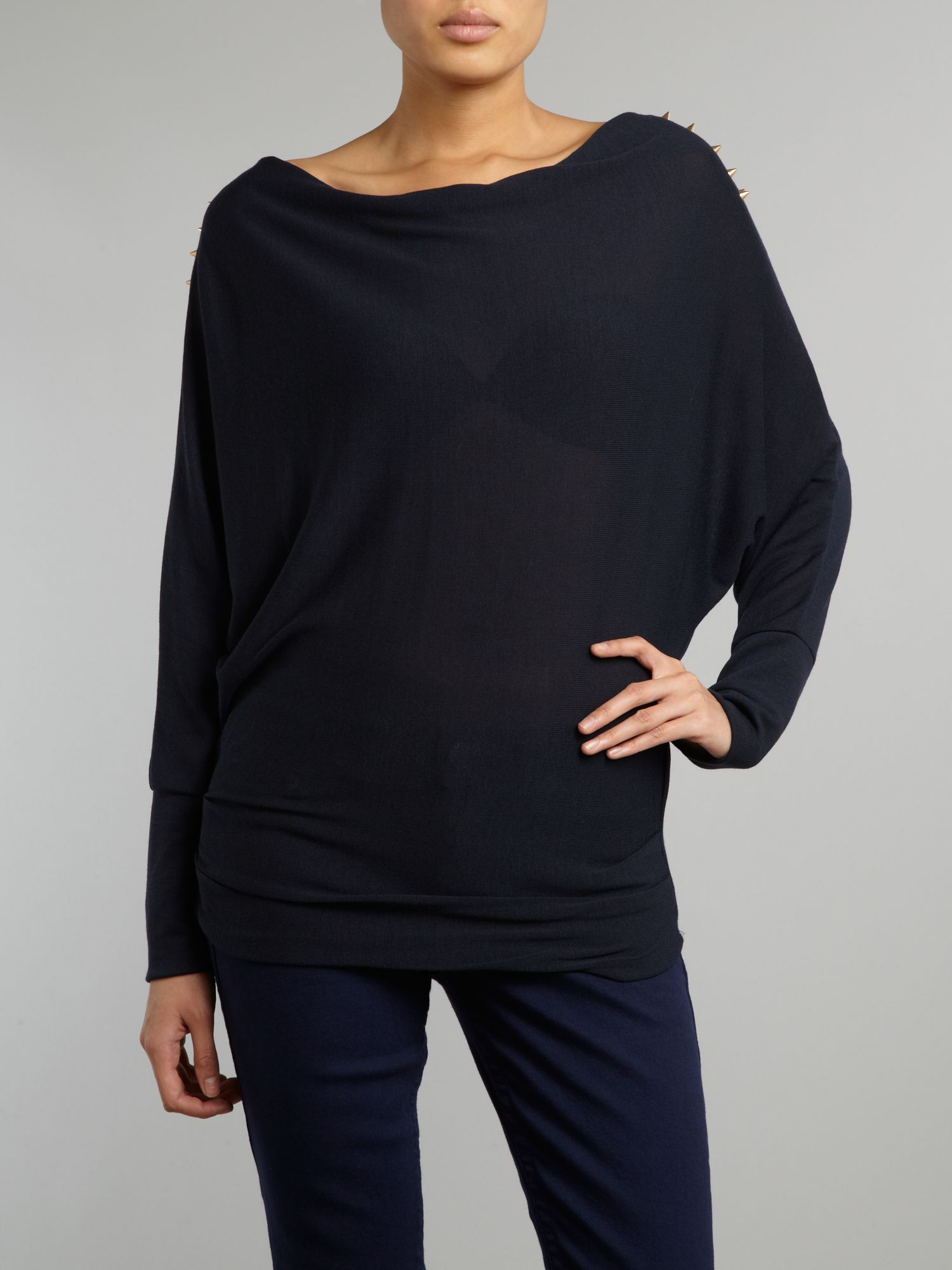 Long sleeve cowl knit with stud shoulder